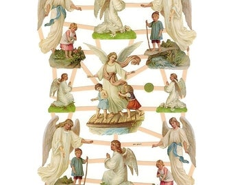 Germany Paper Scraps Lithographed Die Cut Victorian Guardian Angels  7363