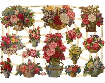 Made In Germany Die Cut Paper Scraps With Flower Bouquets  7264