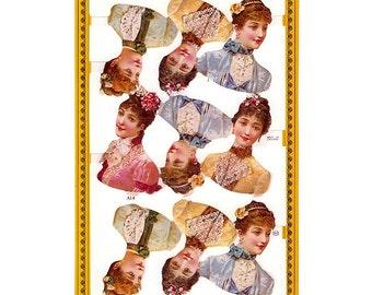 England Paper Scraps Lithograph Die Cut Victorian Ladies  A-14