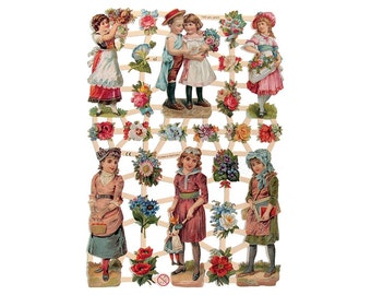 Made In Germany Paper Lithographed Die Cut Scraps Victorian Children  7282
