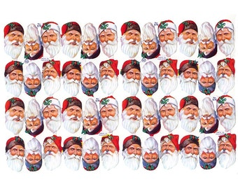 England Paper Scraps 48 Santa Faces Christmas Die Cut Embossed Scraps  874