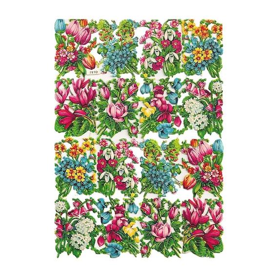 Germany Vintage PZB Paper Scraps Of Flower Bouquets  1110