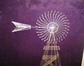 Vintage Windmill String Art Wall Hanging on Purple Velvet.