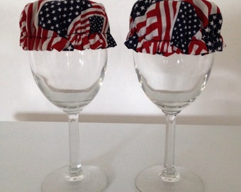 Glass Wine Jar Can Covers Reusable Cup Drink Cozy American Flag USA