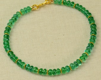 Fine Zambian Emerald Smooth Rondelle 18k Solid Yellow Gold  Bracelet 7.5 inch