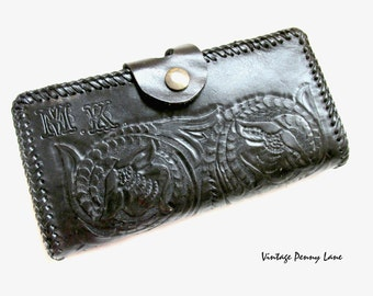 Vintage Black Tooled Leather Wallet Clutch, Monogram MK