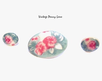 Handmade Porcelain Brooch / Earrings Set, Pink Flower