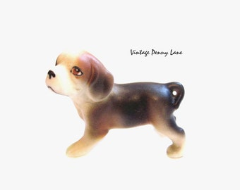 Vintage Porcelain Dog / JAPAN Miniature Figurine