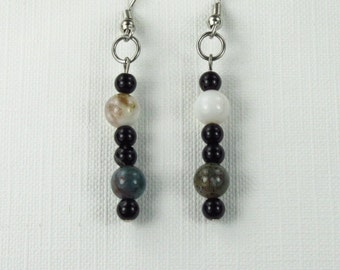 Number 963. Agate and Blackstone Random Bead Earrings