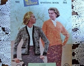 Vintage late 1950s Knitting Pattern - Patons Knitting Book No. 501 - ACTUAL Pattern Booklet
