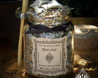 SACRED SMUDGE Proprietary Shamans Herbal Spell Blend 8.5 Ounce Jar with Wooden Spoon