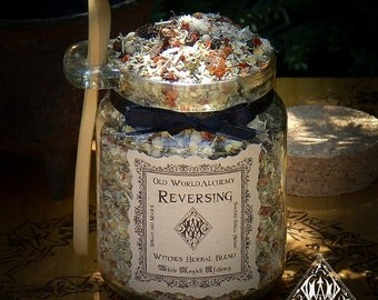 REVERSING Proprietary Herbal Spell Blend 8.5 Ounce Jar with Wooden Spoon