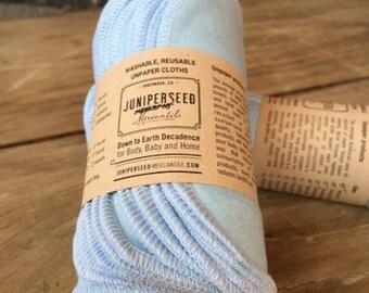 "Pastel Blue Ecofriendly Organic BAMBOO Alternative to Facial Tissues - Dozen 8"" by 5"" Mini Size Cloths With BONUS Mesh Laundry Bag"