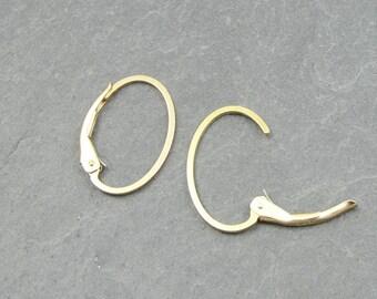 Gold Filled Leverback Earring Findings - Oval Interchangeable Goldfilled Lever Back Ear Wire Hooks - Open Ring Earrings