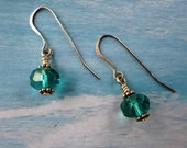 Clearance / Sale Blue / Green Crystal Dangle / Drop Earrings with Silver Accents item EG4