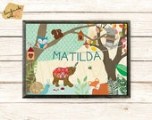 Personalised  Name poster with cute fox, wolf, bear, forest party