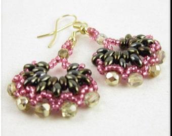 Super Duo Half Hoop Dangle Seed Bead Beadwork Earrings in Pink and Gold