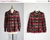 30% OFF SALE 1950s Pendleton charcoal grey - red wool 49er jacket / m - l