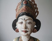 Antique Wood Sculpture, Indonesian Goddess Figure, Vintage Balinese Wood Carving, Home and Living, Folk Art, Ethnic Art