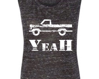 Truck Yeah Country Tank Grey Muscle Tee Women's Summer Top