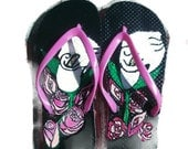 Ladies Size Small 5-6 Pink Flip Flops with Hand Painted Calla Lilies and Roses Summer Designer Shoes Free Shipping