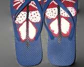 Hand Painted Red White and Blue Butterfly Flip Flops Ladies Size 6-7 Summer Sandals Free Shipping