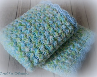 Blue Crochet Baby Blanket Crochet Baby Afghan Car Seat Cover Security Blanket Travel Blanket Baby Shower Baby Boy Newborn READY TO SHIP