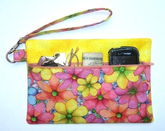 Peach Floral Wristlet, Yellow Sparkle Clutch, Pink Blue Wallet, Glitter Phone Holder, Floral Zippered Makeup Bag, Front Zip Small Purse