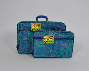 70s suitcases / For the Lil Stowaway in U Vintage 1970s Mod Print Suitcases Luggage Set