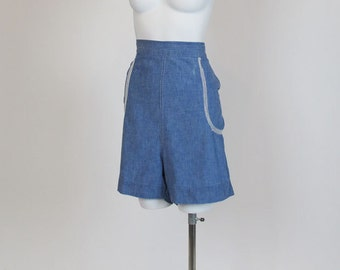 1940s Denim Shorts /  Blue Chambray Vintage 40's High Waisted Shorts