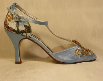 Birds and Bees ...  something blue wedding shoes digital images metallic motifs... Free Shipping within the USA