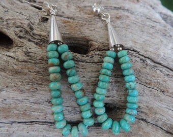 Turquoise Sterling Silver Earrings Southwest Style