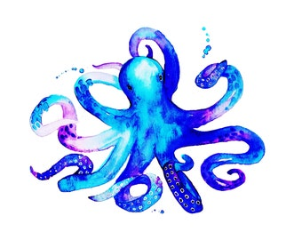 Octopus Print Of Original Sea Creature Watercolor Illustration