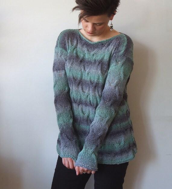 Knitting Summer Tunic : Hand knit cotton tunic braided summer sweater