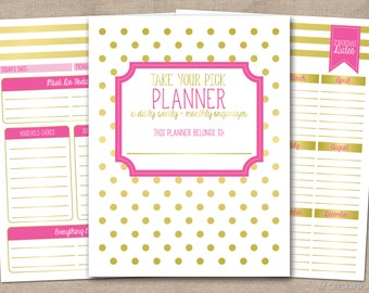 Instant Download Printable Planner Daily Planner or Weekly & Monthly Organizer in Pink and Gold with Meal Planner Passwords List and More