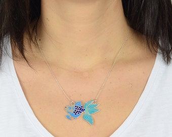 Blue Fish Silver Necklace