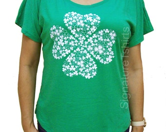 St. Patricks Day shirt womens t-shirt Shamrock Vintage flowy scoop neck tshirt funny wife gift graphic tee shirt Irish green clover