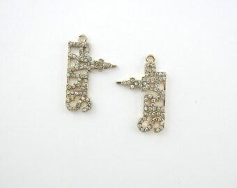 Pair of Gold-tone Paris Word Charms Small Rhinestone Encrusted