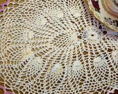 Vintage White Oval Pineapple Doily White With Lavender Picot Edging