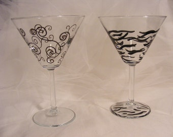 pair of hand painted martini glasses - black scroll and black zebra