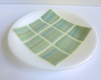 Fused Glass Round Plate in White with Shades of Green, Yellow and Blue by BPRDesigns