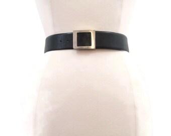 50s 60s Cinch Belt Vintage Black Leather Wide Silver Buckle