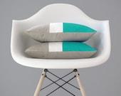 Caribbean Colorblock Pillow Cover - Modern Color Block Pillows by JillianReneDecor - Spring Home Decor - Mid Century - Turquoise