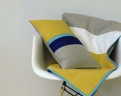 Mustard Yellow Colorblock Throw, Color Block Bedding, Linen Blanket by Jillian Rene Decor - Channel Stripe Quilt