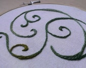 Swirls embroidery in olive greens