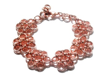 Copper Japanese 12-2 Flower Chainmaille Bracelet