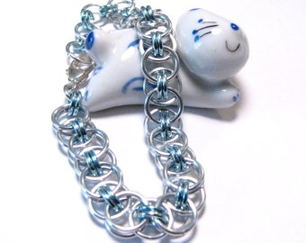 Silver and Sky Blue Chainmaille Helm Weave Bracelet - Free Shipping Canada and Continental US