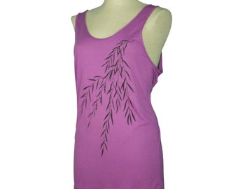 Orchid Purple Japanese Willow Screen Printed Tank Top, Summer, Oversized, Viscose - Gifts for Him or Her