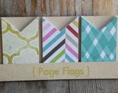 Target Page Flags sets, Checkered Stripe, large size, used for planners, cards, scrabooking, smashbooks, pocket letters, lists, pen pals