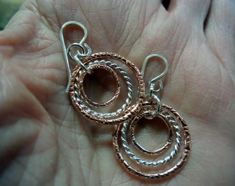 Triple Hoops of Copper and Silver